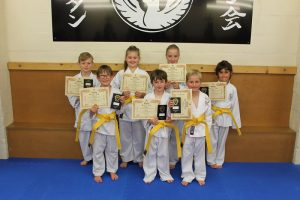 Yellow Belts. Elis Wyn Hopkin-Davies,Aiden Collins,Holly Griffiths, Adam Piercy,Steffan Williams,Oliver Rees, Madison Whitby