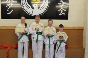 Kubotan Karate - Swansea Karate - Green Belts - Maddison Whitby, Mali Walters, Ruth Davies, Ashton Whitby