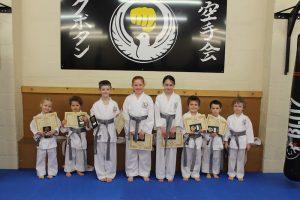 Kubotan Karate - Swansea Karate - Grey Belts - Maddie Bater, Thomas Fergus-Grey, Cerys Bater, Kyle Masurier, Marty Parry, Catrin Richards, Rhys Roberts, Phoebe Griffiths