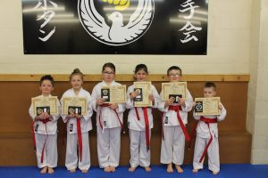 Kubotan Karate - Swansea Karate - Red Belts - Baidie Gower, Naomi Hedges, Holly John, Cooper Hughes, Aiden Giddings, Finley Kiss