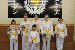 Kubotan Karate - Swansea Karate - Yellow Belts - James Barnes, Logan Clark, Kaidy Cullen, Joshua Harrall, Leanne Griffiths, Gemma Morgan