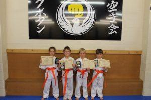 Kubotan Karate Orange Belts - Elis Wyn Hopkin-Davies, Steffan Williams, Eliska Richards, Oliver Rees