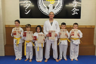 4 Yellow Belts Amelia Ward,Finley Miller,James Bott,Griff Jones,Thomas Fergus-Grey,Benjamin Fergus-Grey